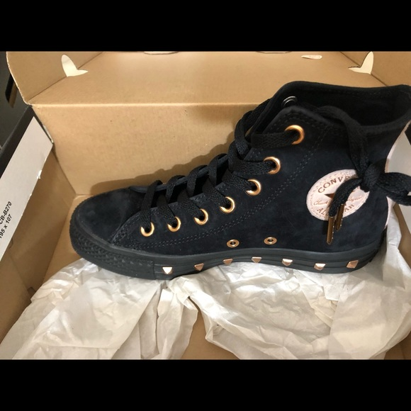 black and rose gold converse high tops